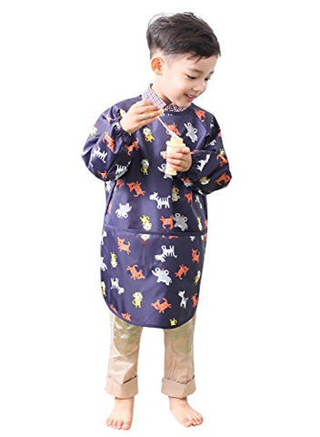Plie Little Boys' Waterproof Art Smock With Sleeves Small Navy Animal
