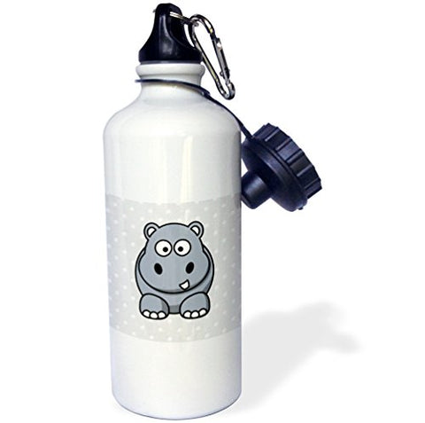 3Drose Wb_37313_1 Comical Gray Hippo On Dotted Gray And White Sports Water Bottle, 21 Oz, White