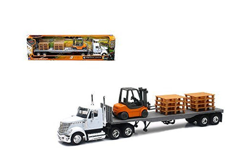 Newray Truck and Trailer Collection White Long Haul Trucker International Lonestar Flatbed with Forklift and Pallets 1/43 Scale Model