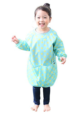 Plie Little Girls' Waterproof Art Smock With Sleeves Medium Mint Dot