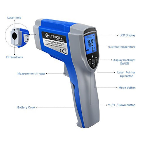 Etekcity 1022 Digital Laser Infrared Thermometer Temperature Gun  Non-Contact -58~1022 (-50 ~ 550) With Adjustable Emissivity &Amp