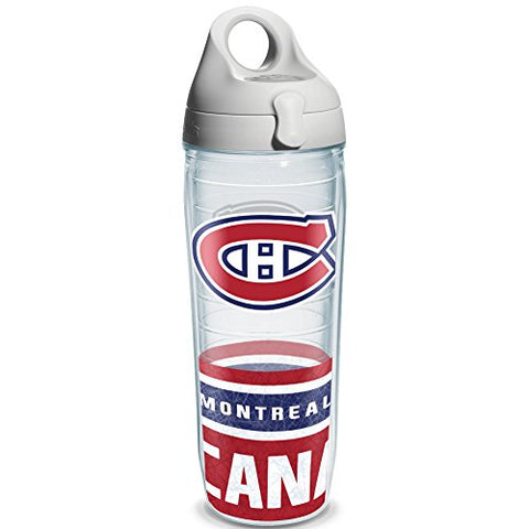 Tervis 1145516 Nhl Montreal Canadiens Water Bottle With Grey Lid, Wrap, 24 Oz, Clear