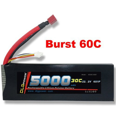 DLG 30C Burst 60C 6S 5000mAh 22.2V LiPO Li-Po High-Discharge Rate Powerful Battery with Dean's T Plug