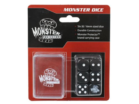 Dice - Monster Protectors Set of 6 D6 Logo Die with Pocket Carrying Case (Black)