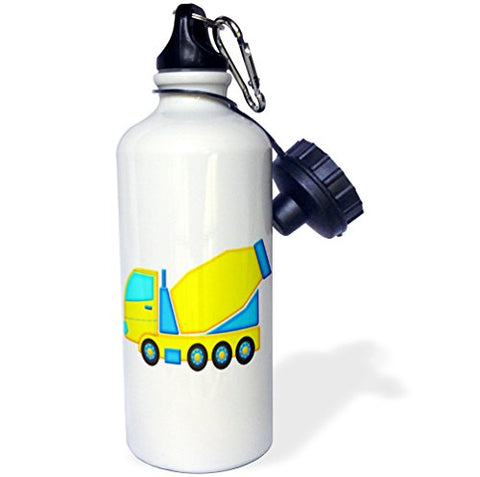 3Drose Cute Boys Blue And Yellow Cement Mixer Truck Graphic Sports Water Bottle, 21 Oz, White