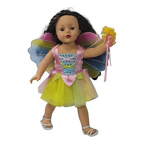 Arianna Fits American Girl 18 Doll - 3 pcs Fairy Costume - Dress - Fairy Glitter Wings - Wand - 18 inch Doll clothes - Boutique Quality She's Worth it! - Designed In USA Fit 18 Inch Dolls