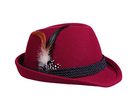 Alpine Holiday Oktoberfest Wool Bavarian Fedora Hat - Red - Size Medium (7  to 7 36995b99a5c9