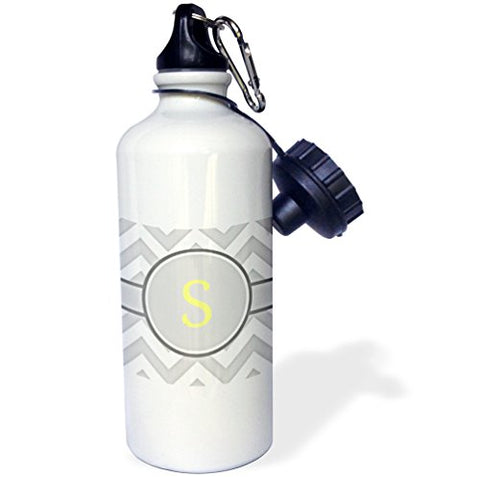 3Drose Wb_222107_1 Grey And White Chevron With Yellow Monogram Initial S Sports Water Bottle, 21 Oz, White