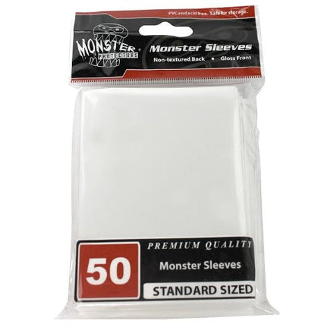 Sleeves - Monster Protector Sleeves - Standard Size Gloss - White (Fits MTG Magic the Gathering and Other Standard Sized Gaming Cards)
