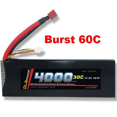 DLG 30C Burst 60C 4S 4000mAh 14.8V LiPO Li-Po High-Discharge Rate Powerful Battery with Dean's T Plug