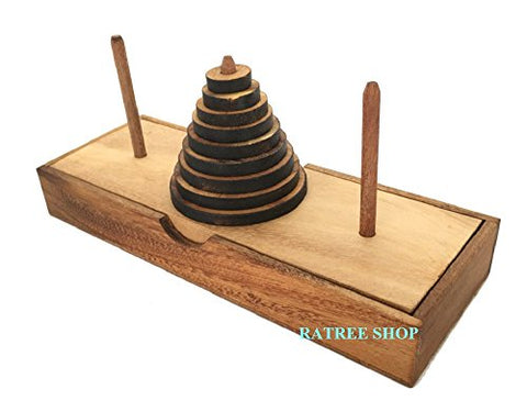Handmade Tower of Hanoi Wooden Puzzle Game (9 Rings) - Handmade Wooden Puzzles for Adults, By RATREE SHOP