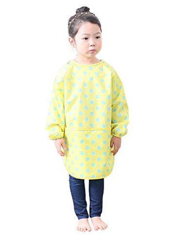 Plie Little Girls' Waterproof Art Smock With Sleeves Large Yellow Dot
