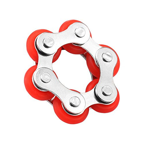 Roller Chain Fidget Toy Stress Reducer for ADHD ADD Autism Anxiety Boredom Adults and Kids(Red)
