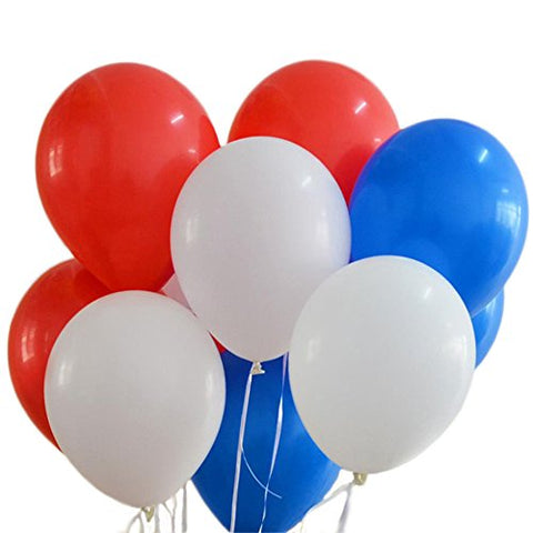 100 Premium Quality Balloons: 12 inches white and blue and red latex balloons birthday party decoration and events