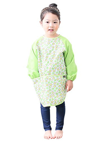Plie Little Girls' Waterproof Art Smock With Sleeves Medium Green Orange