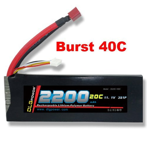 DLG 11.1V 2200mAh 3S 20C Burst 40C LiPO Li-Po High-Discharge Rate Powerful Battery with Dean's T Plug
