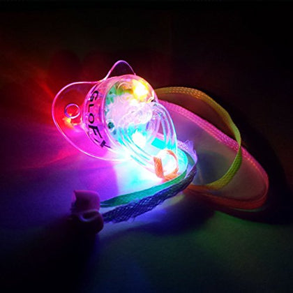 GloFX LED Pacifier Rave Binkie Soft Light Up Toy Necklace Glowing Flashing RGB Style 4 Colors Blinky
