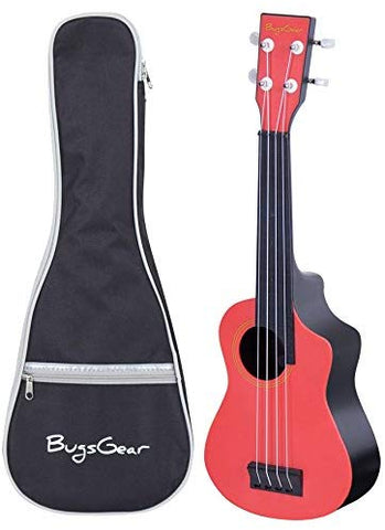Bugs Gear Rpns-Rd Portable Outdoor Kid Friendly 18 Fret Soprano Aqulele Water Resistantukulelewith Case, Red/Black