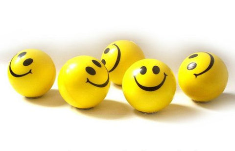 Dazzling Toys Happy Smile Face Stress Ball 1.5 Inch Balls - - Neon Smile Face Relaxable Squeeze Balls in Yellow Color