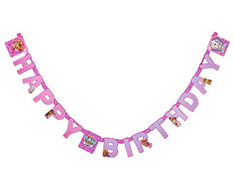 American Greetings PAW Patrol Pink Birthday Party Banner