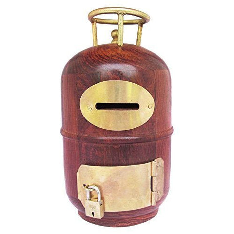 Whopperonline Wooden Handmade Money Bank Cylinder/Round Shape Piggy Bank With Handle Inlay Work Coin Storage Bank, Safe Saving Money Bank Box With Slot And Lock - Brown, 5.5 Inch