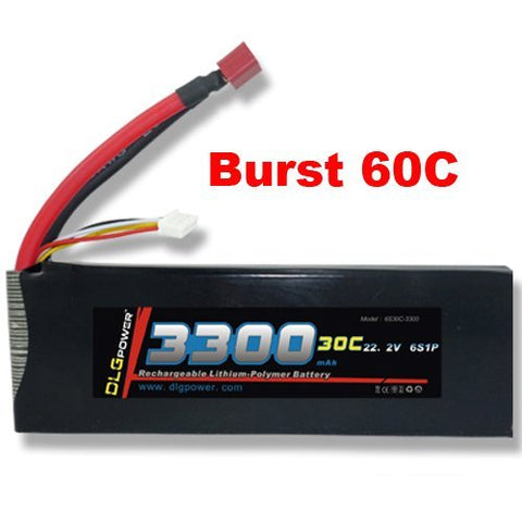 DLG 22.2V 3300mAh 6S 30C Burst 60C LiPO Li-Po High-Discharge Rate Powerful Battery with Dean's T Plug