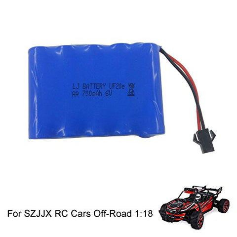 SZJJX Rechargeable Battery 6V 700mAh High Capacity Battery Pack for SZJJX RC Cars Off-Road Rock Vehicle Crawler Truck 2.4Ghz 4WD High Speed 1:18 Remote Radio Control Racing Cars