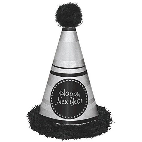 Amscan Rocking New Year's Party Deluxe Striped Marabou Cone Hat Accessory , Multicolor, 13