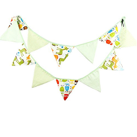 INFEI Green Cartoon Fabric Flag Buntings Garlands Wedding Birthday Party Decoration