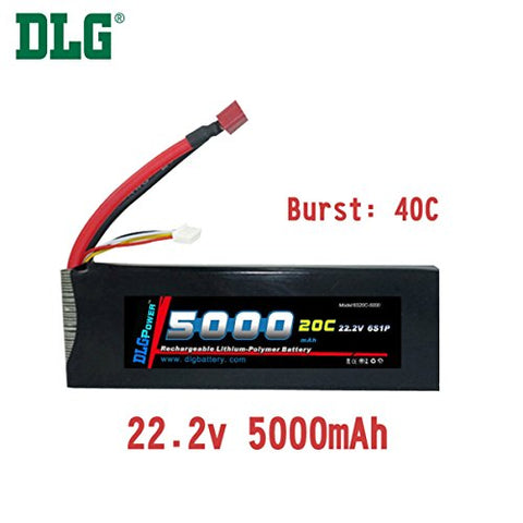 DLG 20C Burst 40C 6S 5000mAh 22.2V LiPO Li-Po High-Discharge Rate Powerful Battery with Dean's T Plug