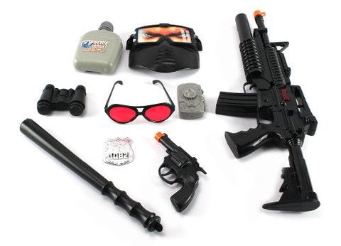 SWAT Super Police Force M16 Friction Toy Gun Combo Play Set w/ Friction Toy Gun, Toy Pistol, Police Badge, Glasses, Mask, Baton, Camera, Canteen, Binoculars