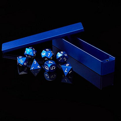Aluminum Polyhedral 7-Die Set - Blue Anodized Metal - Gaming Dice With Vault Case