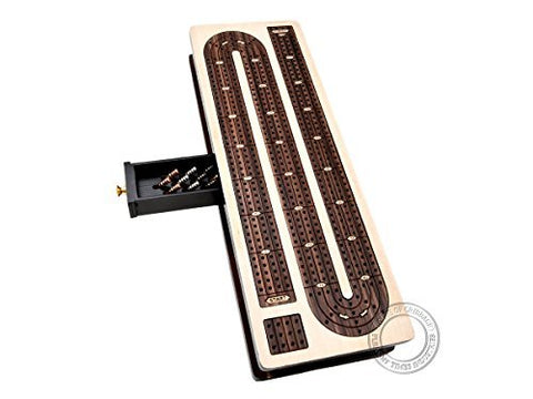 House of Cribbage - Continuous Cribbage Board Inlaid in Maple Wood / Rosewood - 4 Track - Separate Storage Space for Two Deck of Cards & Pegs