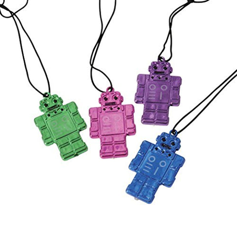 Lot Of 12 Assorted Color Robot Theme Necklaces