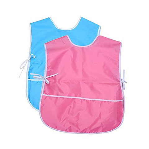 Insho 2 Pcs Waterproof Kids Art Aprons Children's Artist Smock Painting Apron  Pink & Blue