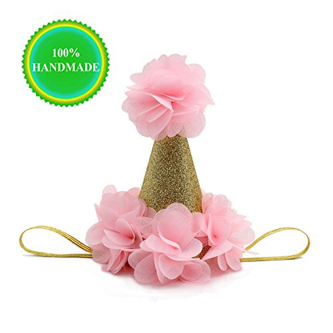 SIFAN Handmade First Birthday Hats for Baby Shower, Girls and Adults, Gold/Pink