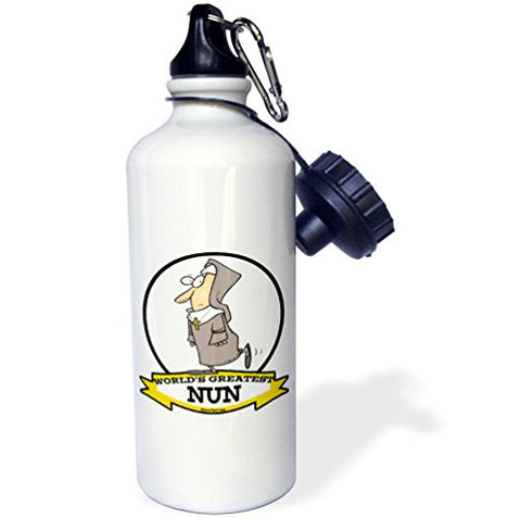 3Drose Wb_103393_1 Funny Worlds Greatest Nun Cartoon Sports Water Bottle, 21 Oz, White