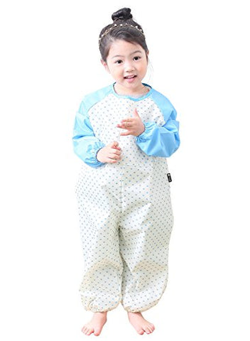 Plie Little Girls' Waterproof All-In-One Solid Sleeve Art Smock Small SkyBlue Heart