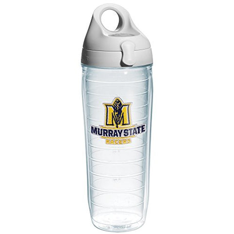 Tervis 1182834 Murray State University Racers Emblem Individual Water Bottle With Gray Lid, 24 Oz, Clear
