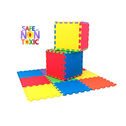 NON-TOXIC 9 Piece Children Play & Exercise Mat - Foam Floor Puzzle Blocking Mats, 6 Vibrant Colors for Kids & Toddlers