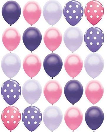 "25 Pc Pink And Purple Polka Dot 11"" Latex Balloons Princess Party Birthday Baby Shower"