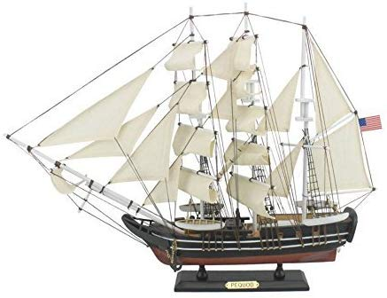 Hampton Nautical Wooden Moby Dick - Pequod Model Whaling Boat, 24""