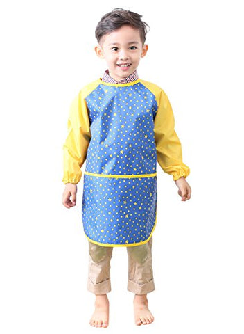 Plie Little Boys' Waterproof Art Smock With Sleeves Large Blue Star