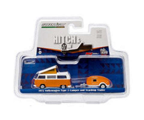 1:64 HITCH & TOW V-DUB 1972 VW TYPE 2 CAMPER & TEARDROP TRAILER ORANGE ( NEW TOOLING ) 51035-B BY GREENLIGHT