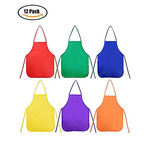 Sohapy 6 Colors Children's Artists Aprons Kids Aprons Painting Aprons Kids Art Smocks for Painting,Baking,Kitchen and Classroom