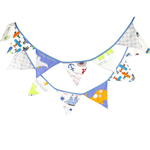 INFEI Blue Cartoon Fabric Flag Buntings Garlands Wedding Birthday Party Decoration