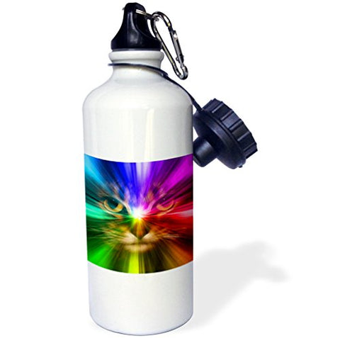 3Drose Wb_18499_1 Domestic Cat Surrounded With A Rainbow Of Colors Sports Water Bottle, 21 Oz, Brown