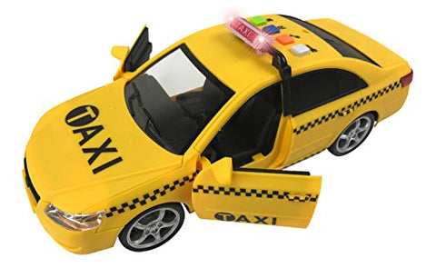 Friction Powered Yellow Taxi Cab 1:16 Toy Car Vehicle with Lights & Sounds (10-Inch)