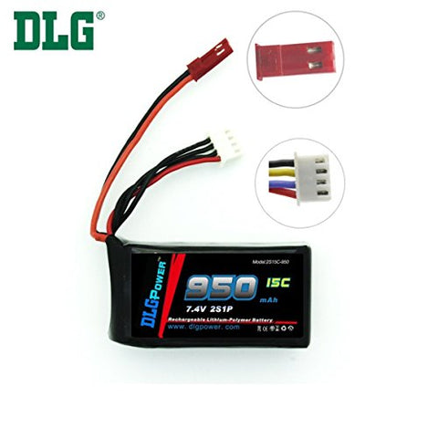 DLG 7.4V 950mAh 2S 15C Burst 25C LiPO Li-Po High-Discharge Rate Powerful Battery with JST Plug
