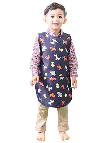 Plie Little Boys' Waterproof Sleeveless Art Smock Apron Large Navy Animal